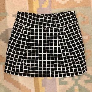Dries van Noten Black White Windowpane Mini Skirt